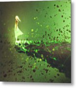 Woman Standing Lonely On The Edge Of A Metal Print