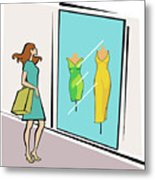 Woman Standing Outside A Clothing Store Metal Print
