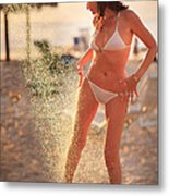 Woman Taking Shower On Beach Metal Print