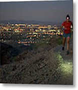 Woman Trail Running In South Mountain Metal Print