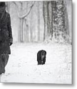 Woman Walking In The Snowy Forest Metal Print