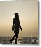Woman Walking On The Lake Front Metal Print