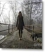 Woman Walking With Her Dog On A Bridge Metal Print