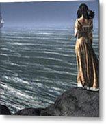 Woman Watching A Ship Sailing Away Metal Print