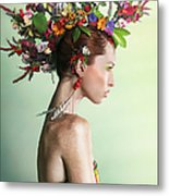 Woman Wearing A Colorful Floral Mohawk Metal Print
