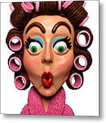 Woman Wearing Curlers Metal Print