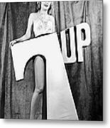 Woman With 7 Up Logo Metal Print