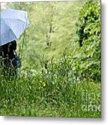 Woman With A Blue Umbrella Metal Print