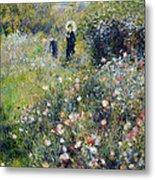 Woman With A Parasol In A Garden, 1875 Metal Print