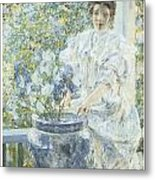 Woman With A Vase Of Irises Metal Print