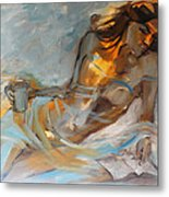 Woman With Book Metal Print