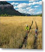 Woman With Daughter Riding Mountain Metal Print