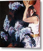 Woman With Flowers Metal Print