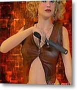 Woman With Gun Metal Print