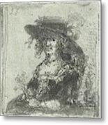 Woman With Hat, Print Maker Jan Chalon Metal Print