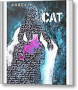 Woman With Magenta Cat Metal Print by Eve Riser Roberts
