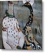 Woman With Peacock Metal Print