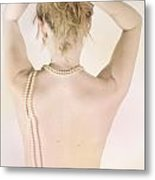 Woman With Pearls Metal Print