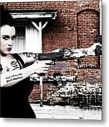 Woman With Pistols Metal Print