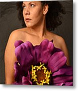 Woman With Purple Flower Metal Print by Timothy OLeary