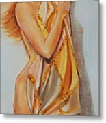 Woman With Scarf Metal Print