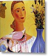 Woman With Shawl Metal Print