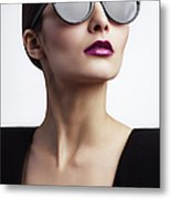 Woman With Trendy Eyewear Metal Print