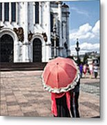 Woman With Umbrella - Moscow - Russia Metal Print
