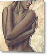 Woman With White Drape Crop Metal Print by Zorina Baldescu