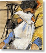 Woman With White Towel - Helene #9 - Figure Series Metal Print