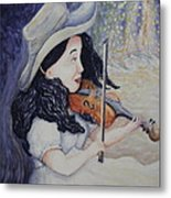 Woman's Autumnal Twilight Serenade Metal Print