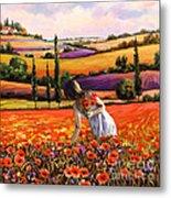 Women Gathering Poppies In Tuscan Metal Print