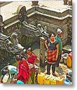 Women Get Bagmati River Holy Water From Ornate Fountains In Patan Durbar Square In Lalitpur-nepal  Metal Print