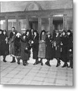Women In A Bank Metal Print