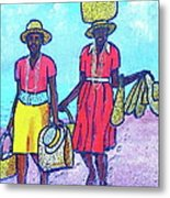 Women On Beach At Grenada Metal Print