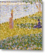 Women On The River Bank Metal Print by Georges Pierre Seurat