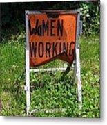 Women Working Metal Print