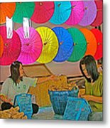 Women Working Together At Borsang Umbrella And Paper Factory In Chiang Mai-thailand Metal Print