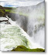 Wonderful Waterfall Gullfoss In South Iceland Metal Print