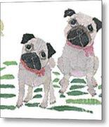 Pug Art Hand-torn Newspaper Collage Art By Keiko Suzuki Bless Hue Metal Print