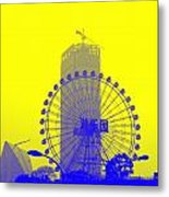Wonderwheel In Blue And Yellow Metal Print