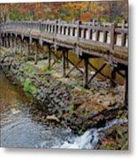 Wood Bridge And Autumn Color Metal Print