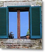 Wood Brown Window With Green Shutters Of Tuscany Metal Print