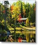 Wood Cabin By The Lake Metal Print