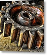 Wood Gears Metal Print