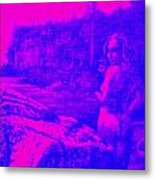 Wood Nymph In Pink And Blue Metal Print
