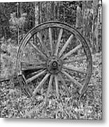 Wood Spoke Wheel Metal Print