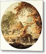 Wooded Landscape With A Cottage Beside A Bridge Metal Print