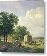 Wooded Landscape With Haymakers Metal Print