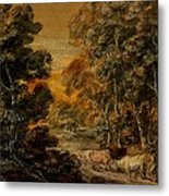 Wooded Landscape With Herdsman And Cattle Metal Print